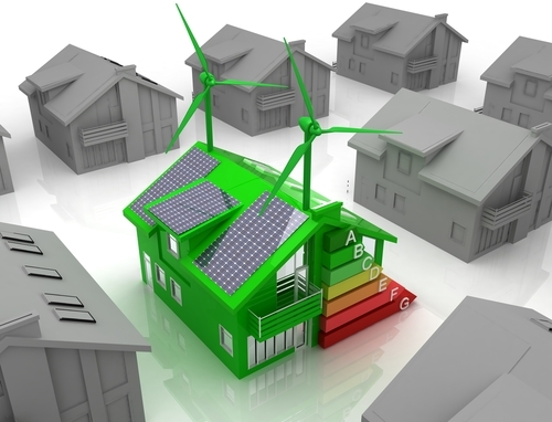 An illustration of a planned new low carbon house with renewable energy technologies as recommended within the Energy Statement prepared by EPS Group.